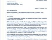 Thư chúc mừng của Liên đoàn Doanh nghiệp Thang máy Vừa và Nhỏ Châu Âu (EFESME).